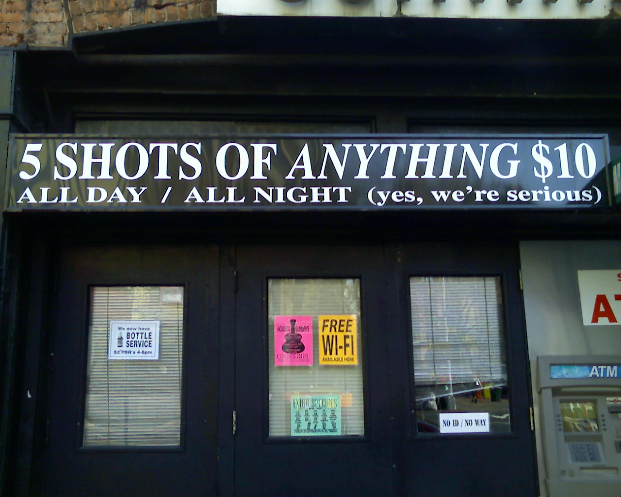 5 shots of anything $10