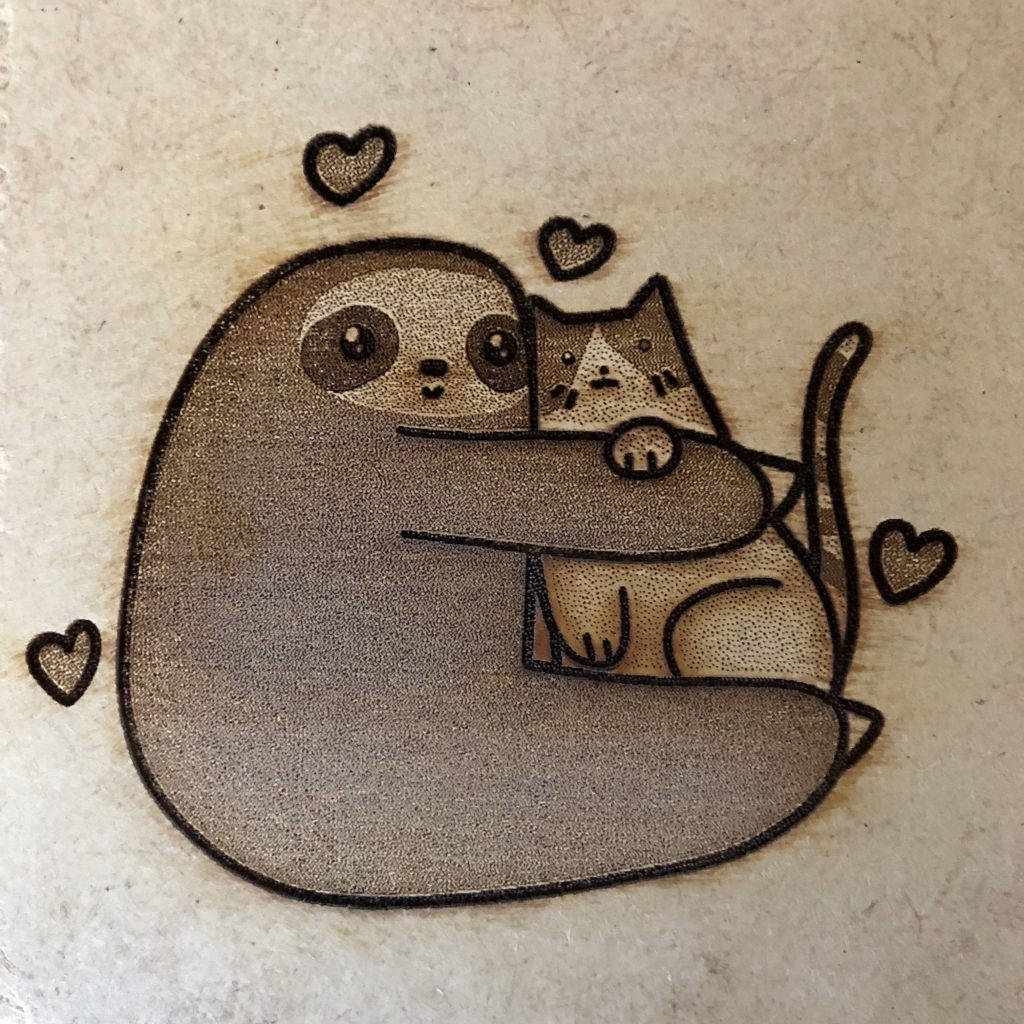 sloth hugging cat on MDF