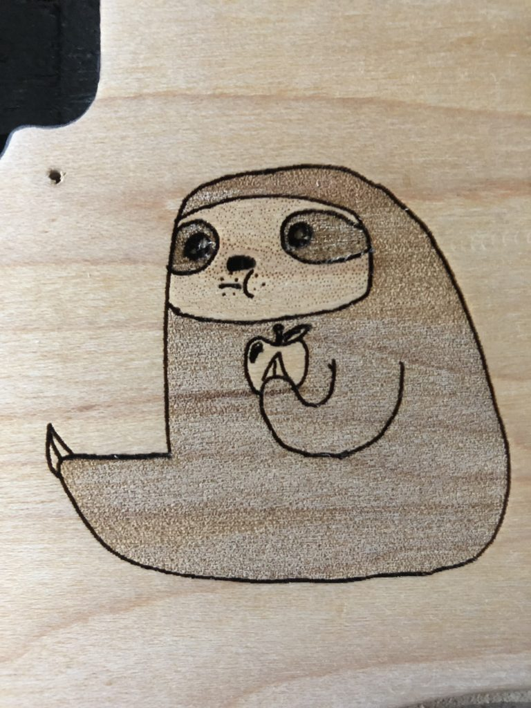 Sloth design on the guitar body